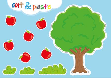 actividades de cortar y pegar para jardín de infantes, preescolar cortar y pegar hojas de trabajo para niños Ilustración de vector