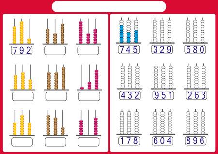 los niños aprenden números con ábaco, hoja de trabajo de matemáticas para niños
