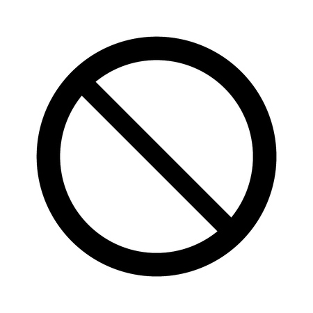 black Not Allowed Sign, isolated on the white, internet icon, illustration vector