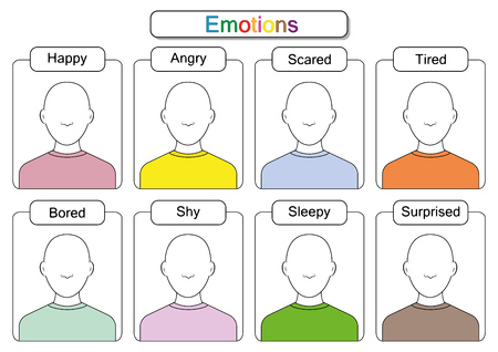 draw the faces, Draw the emotions, educaitonal worksheets for kids