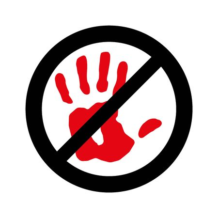 No entry, not allowed hand sign on white, Stop hand, Sign do not enter.