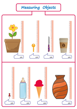 Measuring Length of the Objects with Ruler, worksheet for kids, practice sheets, mathematics activities Vectores