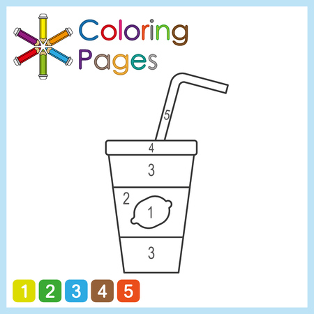 coloring page for kids, color the parts of the object according to numbers, color by numbers