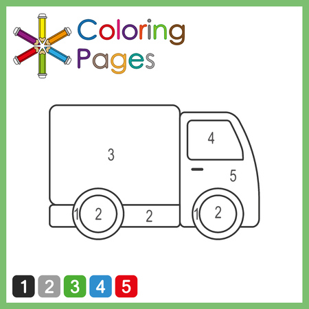 coloring page for kids, color the parts of the object according to numbers, color by numbers, truck Иллюстрация