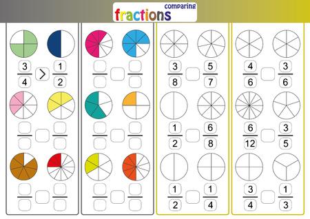 comparer des fractions, utiliser le signe Moins que ou Plus que comparer les fractions, feuille de calcul mathématique