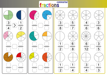 comparing fractions, use Less than or More than sign compare the fractions, mathematic worksheet