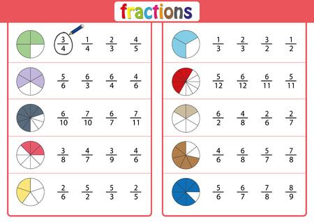 Encierre en un círculo la fracción correcta, Matemáticas, hoja de trabajo de matemáticas para niños Ilustración de vector