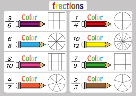 Fractions worksheet, Fraction Review, fraction practice, educational, Equivalent Fractions, math activity for kids Vettoriali