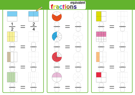 Equivalent frantions, mathematics, math worksheet, find drawing and color 일러스트