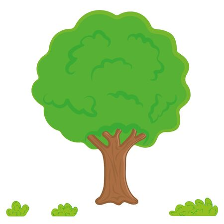tree vector, Leaves, garden. Cartoon Forest or Park Tree, Gradient Isolated on White Background. Иллюстрация