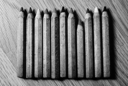 Lonely low crayon among high