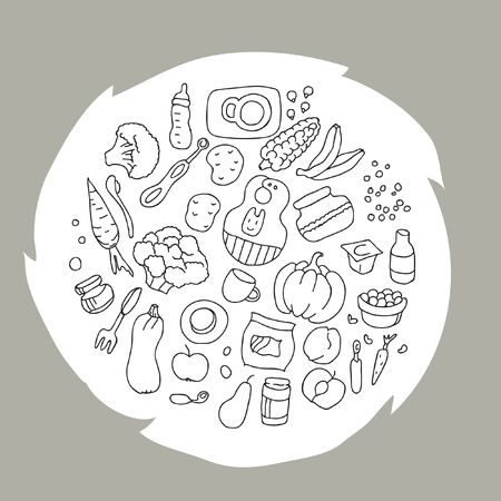 A circle filled with objects, products and accessories for complementary feeding infants aged 6 to 8 months in doodle style, vector illustration in grayscale