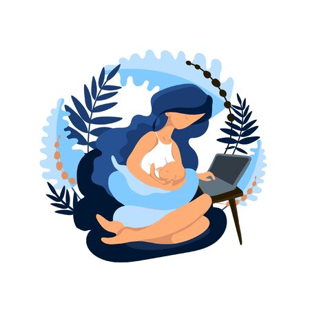 Breastfeeding newborn baby and working at computer, mom with breastfed baby surrounded by exotic leaves, flat style illustration in a limited color palette. For use in printing or web design. Vector illustration