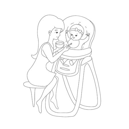 Mom feeds baby from spoon with complementary food, which she holds in her hand in a plate, illustration is made in line art style, in gray. Vector illustration