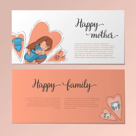 Flyers depicting a mother with a baby in sling, baby clothes and a diaper