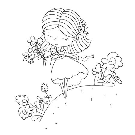 Children's illustration. Happy girl collects ordinary flowers in bouquet. Made in doodle style, outline. Vector illustration