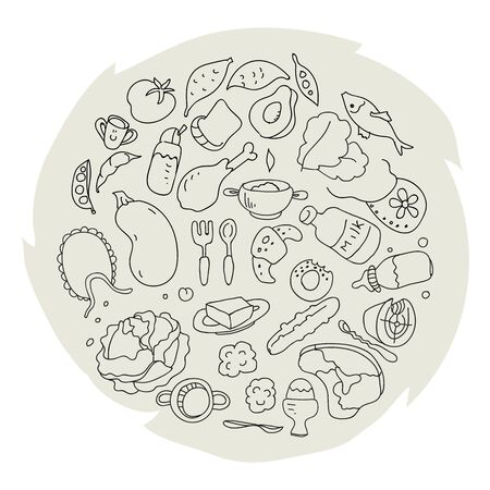 The circle is filled with products and accessories for feeding children aged 9 to 12 months in doodle style. Vector illustration