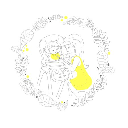 Mom feeds the baby in a chair to feed from a spoon supplementary food, in a frame made of various leaves, the illustration is made in line art style, in gray with yellow elements. Vector illustration