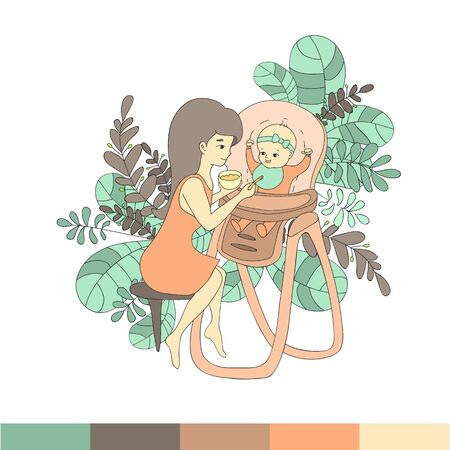 Mom feeds the baby in a chair to feed from a spoon supplementary food, surrounded by various leaves, the illustration is made in a line art style, in shades of green and red.Vector illustration