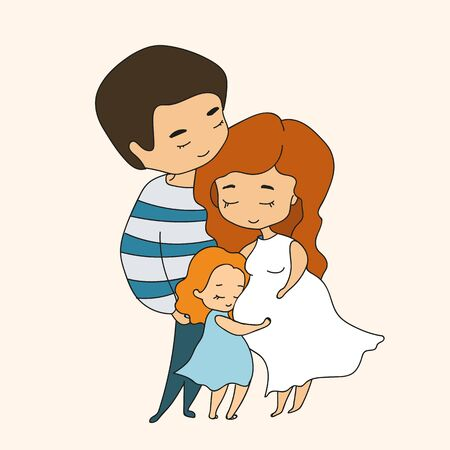 Pregnant mom hugged by dad and little daughter hugging mom's tummy, illustration in doodle style. Vector illustration
