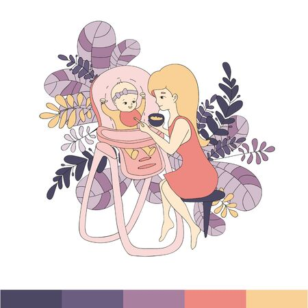 Mom feeds the baby in a chair to feed from a spoon supplementary food, surrounded by various leaves, the illustration is made in a line art style, in shades of coral and purple.Vector illustration Illustration