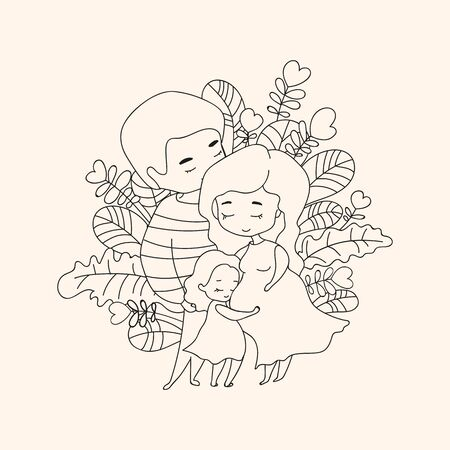 Pregnant mom hugged by dad and little daughter hugging mom's tummy against various leaves background, illustration in doodle style. Vector illustration
