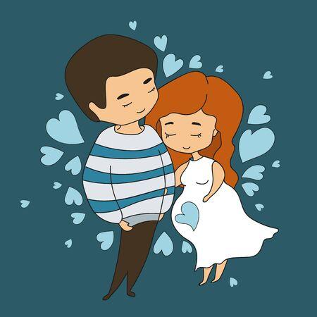 Pregnant woman hugging man on hearts background, illustration in doodle style. Vector illustration Illustration