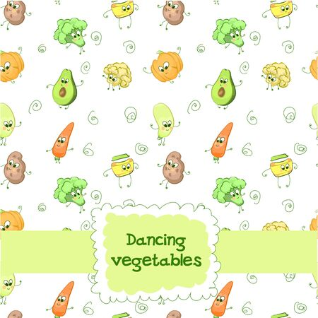 Background with baby characters dancing vegetables, outline with colored fillings in cartoon style on a white background. Vector illustration
