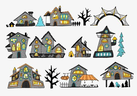 Set of fairy-tale houses with stylized various windows, trees and bushes, cartoon-style street, made with bright colored fills with contour. For stickers or interior design. Vector illustration