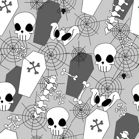 Halloween seamless pattern with skull, skeleton, bones, spine, coffins and spider web, flat style, for gift wrap, textiles or holiday decorations. Vector pattern