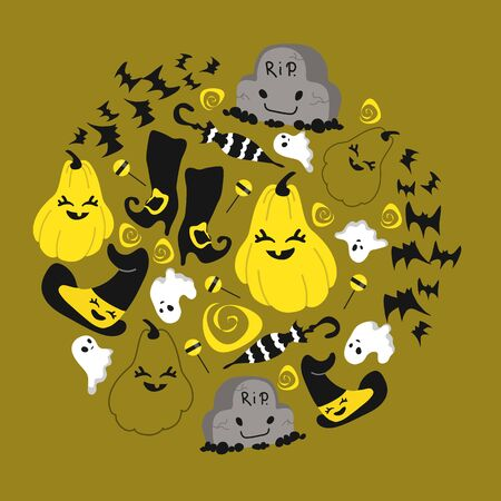Set of Halloween paraphernalia in black and yellow tones on mustard background, includes witch's clothes, pumpkins, ghosts, tombstones, candy. For designing Halloween design, souvenirs and stickers. Vector illustration Illustration