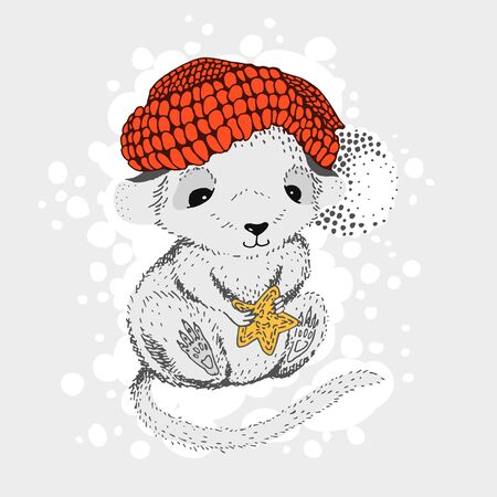 Graphic representation of a rat in a knitted hat with a gingerbread in paws. cheerful children's character, for T-shirt prints, for cup and postcard design. Vector illustration