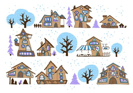 Set of winter fairytale houses with stylized various windows, trees, fir-trees and shrubs, cartoon-style street, made with bright colored fills with contour. For stickers or interior design. Vector illustration