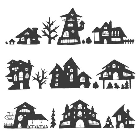 Set of fairytale houses with stylized various windows, trees and shrubs, cartoon style street silhouette. For stickers or interior design. Vector illustration