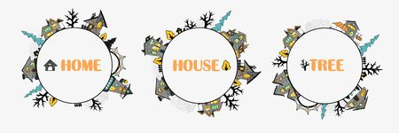 Three round mini frames of fairytale houses with stylized various windows, trees and shrubs, cartoon-style street, bright colored outlines with contour. For stickers or interior design. Vector illustration
