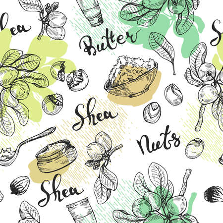 Seamless Pattern with branch Shea tree with fruits, nuts, leaves and Shea butter. Detailed hand-drawn sketches, vector botanical illustration. For cosmetics, medicine, aromatherapy. For menu, label, packaging design