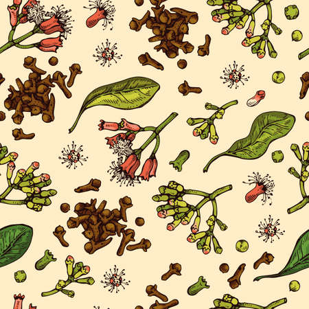 Seamless Pattern with branches of a carnation tree with leaves, buds and flowers . Detailed hand-drawn sketches, vector botanical illustration. 矢量图像
