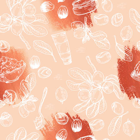 Seamless Pattern with branch Shea tree with fruits, nuts, leaves and Shea butter. Detailed hand-drawn sketches, vector botanical illustration. For cosmetics, medicine, aromatherapy. For menu, label, packaging design 矢量图像