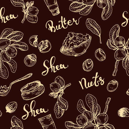 Seamless Pattern with branch Shea tree with fruits, nuts, leaves and Shea butter. Detailed hand-drawn sketches, vector botanical illustration. For cosmetics, medicine, aromatherapy. For menu, label, packaging design Stock fotó - 158495493