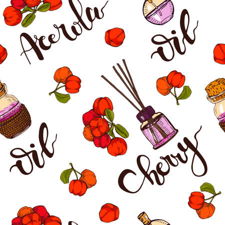 Seamless Pattern with branch acerola cherry, fruit, flower and glass bottle with oil and accessories. Detailed hand-drawn sketches, vector botanical illustration. For textile, background, packaging design.