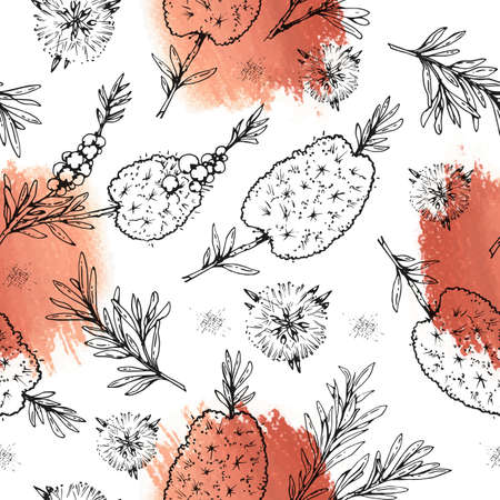 Seamless Pattern with branches with leaves and flowers of tea tree. Detailed hand-drawn sketches, vector botanical illustration. For textile, background, packaging design. Illusztráció