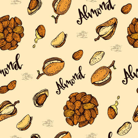 Seamless Pattern with Almond kernels of nuts. Detailed hand-drawn sketches, vector botanical illustration. Stock fotó - 158936684