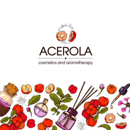 Background with branch acerola cherry, fruit, flower and glass bottle with oil and accessories. Detailed hand-drawn sketches, vector botanical illustration. For menu, label, packaging design. Illusztráció