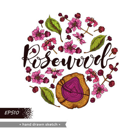Circle filled cut of a Rosewood and twigs with flowers and buds and lettering Rosewood. Detailed hand-drawn sketches, vector botanical illustration. For menu, label, packaging design.