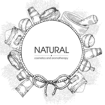 Frame with natural cosmetic accessories. Detailed hand-drawn sketches, vector botanical illustration. Stock fotó - 162164450