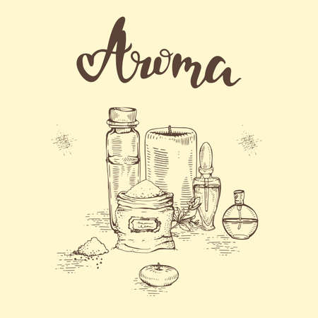 Aromatherapy accessories and lettering Aroma. Detailed hand-drawn sketches, vector botanical illustration.
