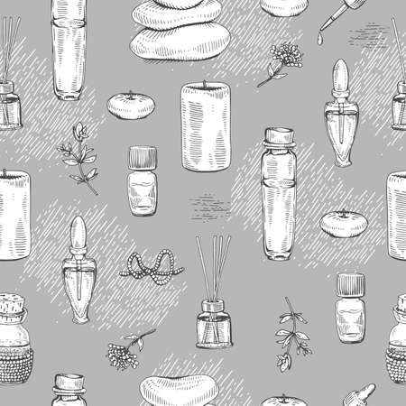 Seamless Pattern with aromatherapy accessories. Detailed hand-drawn sketches, vector botanical illustration. Stock fotó - 162164500