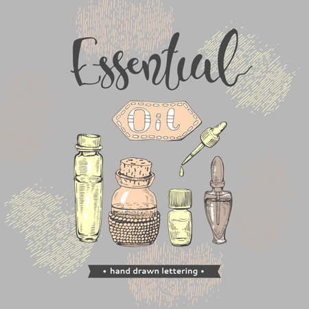 Aromatherapy accessories and lettering essential oil. Detailed hand-drawn sketches, vector botanical illustration.