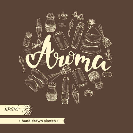 Circle filled aromatherapy accessories and lettering aroma. Detailed hand-drawn sketches, vector botanical illustration. Stock fotó - 162164672