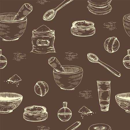 Seamless Pattern with natural cosmetic accessories. Detailed hand-drawn sketches, vector botanical illustration. Illusztráció